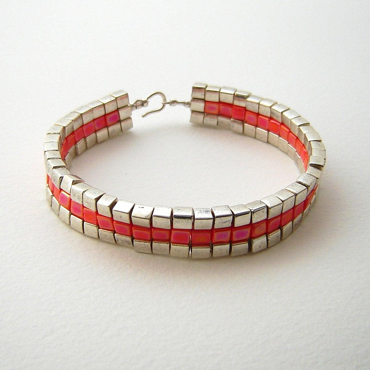 Silver Band Bracelet: Silver And Orange Band Bracelet Art Deco Flat Square Pattern
