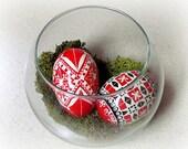Ukrainian egg, pysanka, red, white, black, egg, chicken egg, duo, bowl, decoration