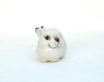 Rabbit figurine porcelain bunny Russian vintage USSR Lomonosovs Porcelain white bunny Chritmas gift winter holidays collectible