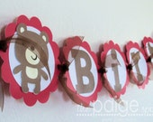 Brown Bear NAME Banner - red picnic bear collection