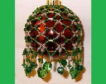 50% Off Sale - Victorian Inspired Beaded Ornament Cover Pattern #X-02 - Beading Tutorial in .pdf - Instant Download Instructions