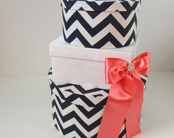 Wedding Card Box Money Box in Navy Chevron, Silk Fabric, and Coral Accents