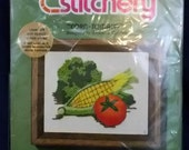 Embroidery needlework kit, beginning stitchery Corn-Tomato Brand new in package