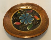 Handpainted Vintage Wooden Hanging Plate Tole Toile Painted Vibrant Colors