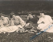 Real Photo Postcard  - Edwardian Women with Flower Straw Hats - Outside - Unusual Pose - Roses