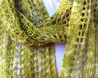 Long Lace Scarf Citrus Green Merino Silk Silver