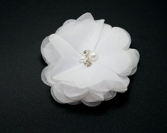 """White Chiffon Flowers with Pearls & Rhinestones - 3""""  - set of 2 - NEW SIZE"""