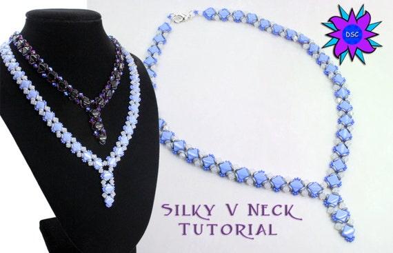 Silky V Neck Beading Tutorial, Two Hole Diamond Necklace Pattern, O bead, Tri Bead Swarovski Crystal PDF, Laura Graham Design