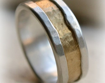 mens rustic fine silver and brass ring - handmade hammered artisan designed wedding or engagement band - customized - custom hand stamping