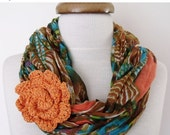 CHRISTMAS SALE Cotton Scarf With Flower Brooch-Ready For Shipping