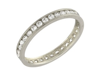 Channel Pave Set Brilliant Cut Diamond Ring in White Gold