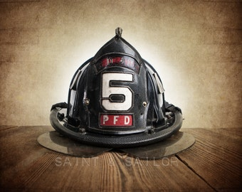 Vintage Fireman helmet Photo Art Print, PFD 5, 12 Sizes Available from Print to Mounted Canvas