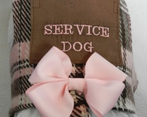 Custom SERVICE Pet with Pocket Harness Vest in a Classic Pink BrownTweed Plaid with Lace & Bow. Perfect Item for your Cat, Dog or Ferret.