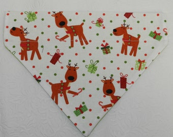 Where's Rudolph? Reindeer Christmas Holiday Gift Celebration Dot Bandana. Great for Dog, Cat & Ferret. Reversible 2 in 1 Over the Collar.