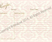 RESERVED for TINA Pink Recipe Cards 4x6 Personalized Shabby Chic Damask