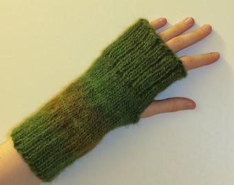 Wool blend Hand Knit Wrist Warmers Fingerless Gloves 'Rainforest'