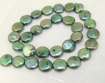 Coin Freshwater pearl Cultured Pearl Green Pearl 11mm Gemstone Beads Full Strand 15""