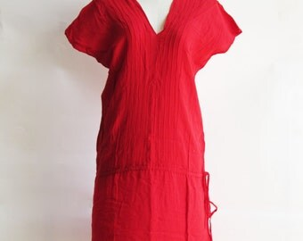 D21, V Neck Bright Red Cotton Dress