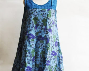 D25, Queen Elizabeth Garden Cute Floral Blue Cotton Dress