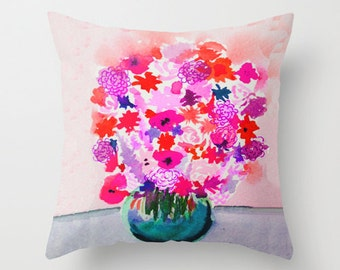 """Ready To Ship 16"""" Le Petite Bouquet Watercolor Painting Print Pillow Cover in Pinks, Orange, and Purples."""