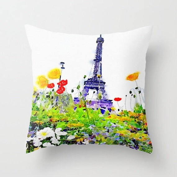 Paris Spring Watercolor Pillow Cover. Eiffel Tower With