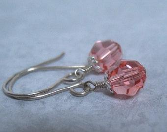 Coral Pink Earrings Swarovski Crystal Beaded Earrings Handmade Sterling Silver Jewelry