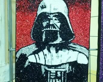 Darth Vader- glitter art 9x12
