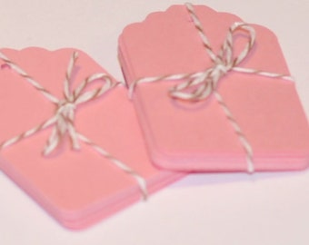 Pink Tags, 100 Die Cut Tags, Valentines Day Gift Tags, Pink Die Cuts