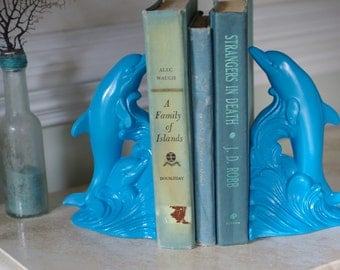 Vintage Blue Dolphin Bookends