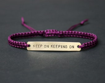 Keep On Keeping On Sterling Silver or  Brass and Macramé Bracelet, Choice Of Colours Available