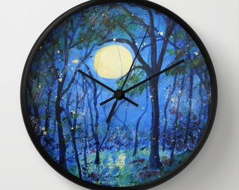 Fireflies in the Moonlight Art Clock  Black