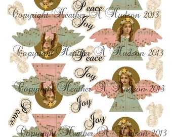 Vintage Victorian Primitive Shabby Chic  Christmas Angels Ornaments  Digital Collage sheet Printable Clearance