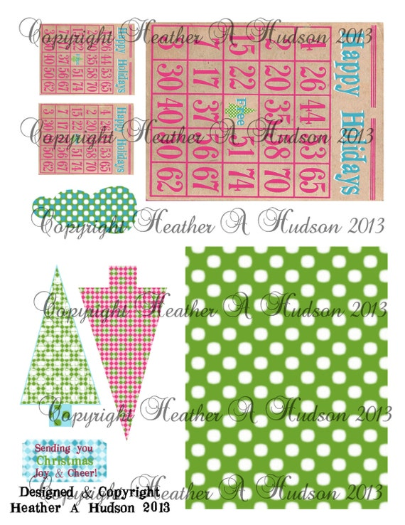 Non Traditional Christmas Bingo  Tree  Merry tags  Digital Collage sheet Printable