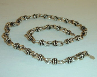 RESERVED Vintage Silver Plated Bali Beaded Necklace or Watch Chain