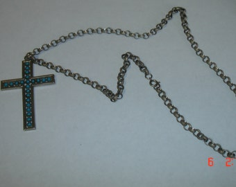 Vintage Large Pewter Cross and Rolo Chain with Faux Turquoise Beads