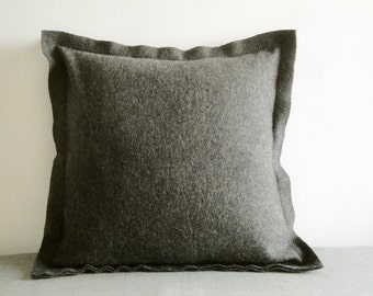 Dark Grey Felt Cushion Cover, Decorative Pillow, Accent Throw Pillow , Felt Pillow with Flange