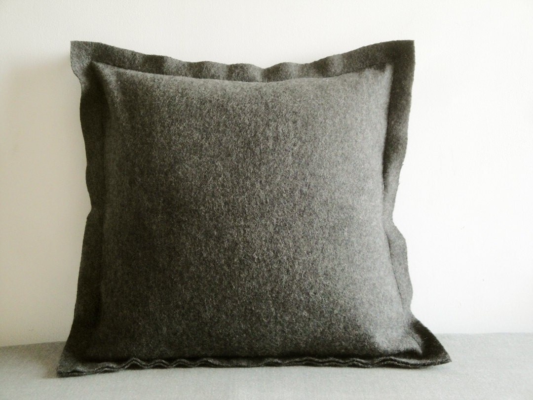 Dark Grey Felt Cushion Cover Decorative Pillow Accent Throw