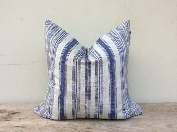 """Navy Stripe Pillow Case Nature Hemp Hand Woven  A Piece Of Vintage Tribal Textile 20"""" x 20"""" Front And Reverse Same Fabric"""