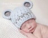 Newborn Hat, Newborn Boy Hat, Baby Boy Monkey Hat, Pale Denim Hat with Grey Ears, Newborn Photo Props. Baby Shower Gift. Baby Boy Gift.