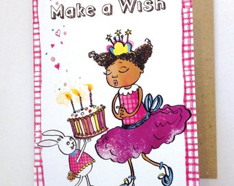 Make a Wish, Happy Birthday Card, Multicultural Cards, Greeting Cards, Birthday Card, for Girls, for children, African American Girl, Pink