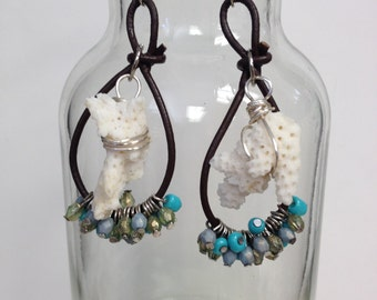 Leather and Coral  Earrings