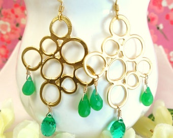 Gold bubble emerald green quartz and green chrysoprase chandelier earrings, Christmas gold bubble green tear drop statement earrings