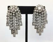 Vintage Kramer Silvertone Rhinestone Dangle Waterfall Clip Earrings