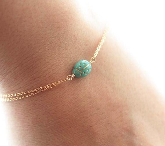 Lady Bug Bracelet, Delicate Gold Filled Bracelet - Turquoise Czech Ladybug Charm - Delicate, Feminine & Simple Minimal Bracelet