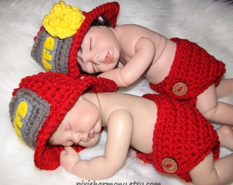 TWIN Newborn Photo Props - FIREMAN or POLICEMAN - Baby Boy Girl Hat and Diaper - Reborn Doll - Made to Order - Emergency - Fire Police