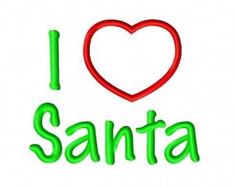 I Heart Santa Applique 3 Embroidery Design 4x4 5x7 6x10 Christmas Love INSTANT DOWNLOAD