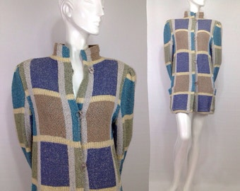 Vintage 1980s Missoni sweater jacket coat outerwear Puffy sleeves stand up Collar Knit Orange Label
