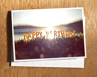 Happy Birthday Card, Happy Birthday Candles Card, Birthday Sunset Card, Unique Birthday Card, Happy Birthday Candles Birthday Card