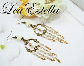 Swarovski Cream White and Bronze Gold Leaf Pearl Greek Goddess Long Chandelier Earrings - Helen of Troy