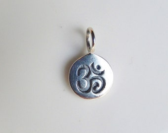 Sterling silver om small charm, yoga necklace charm, om pendant